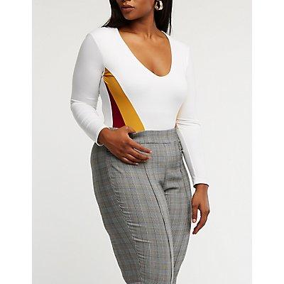 Plus Size Chevron Colorblock Bodysuit