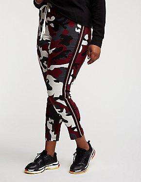 Plus Size Camo Side Stripe Jogger Pants