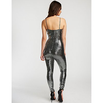 Sequin V Neck Jumpsuit