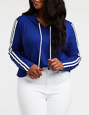 Plus Size Varsity Striped Crop Hoodie