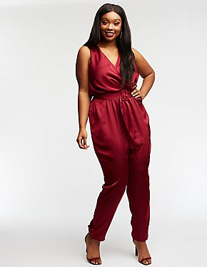 Plus Size Satin Belted Jumpsuit