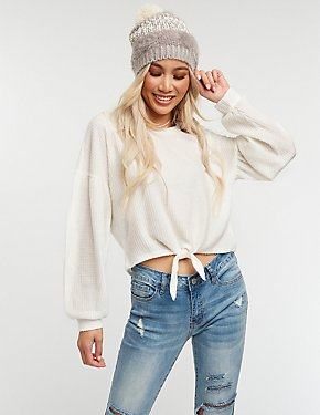 Waffle Knit Front Tie Top