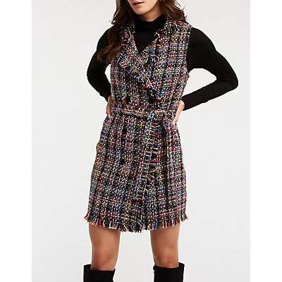 Tweed Double Breasted Button Up Dress