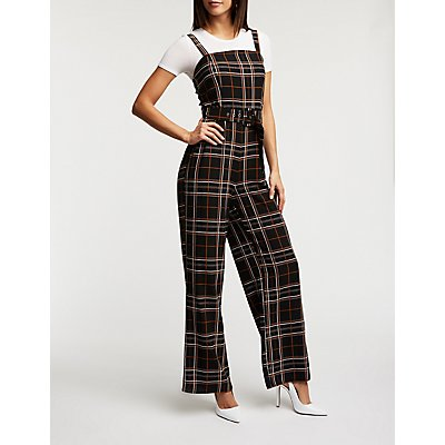 Plaid Belted Jumpsuit