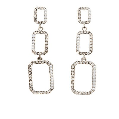 Faux Pearl & Crystal Drop Earrings
