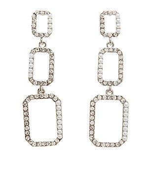 Faux Pearl & Crystal Drop Earrings