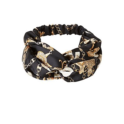 Printed Satin Twist Headband