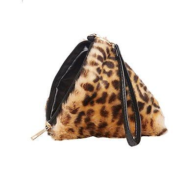 Leopard Faux Fur Triangle Clutch