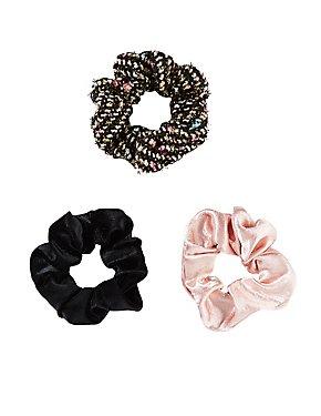 Tweed & Velvet Scrunchies - 3 Pack