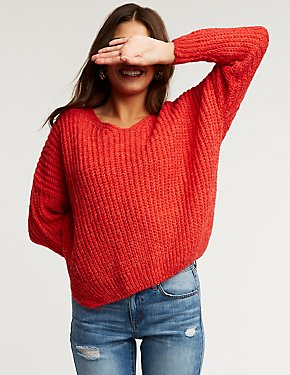 V Neck Dolman Sleeve Sweater