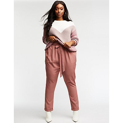 Plus Size Striped Self Tie Trousers