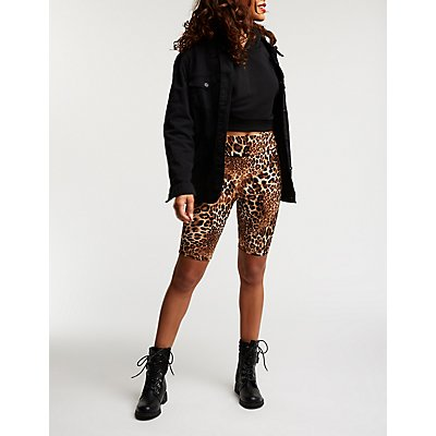 Leopard Print Bike Shorts