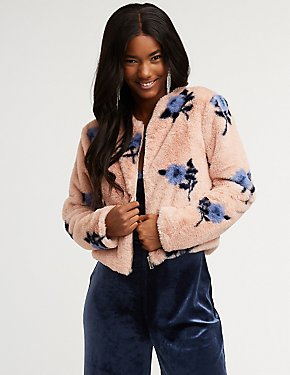 Floral Faux Fur Zip Up Jacket