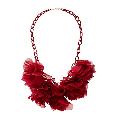 Floral Fabric Linked Choker Necklace