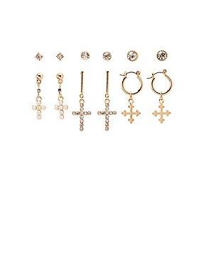 Cross Stud Earrings - 6 Pack