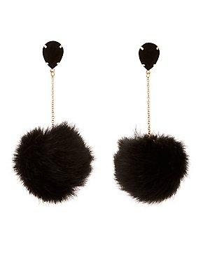 Faux Fur Drop Earrings