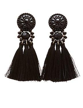 Stone & Fringe Tassel Earrings