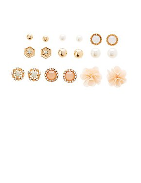 Floral Stud Earrings - 9 Pack