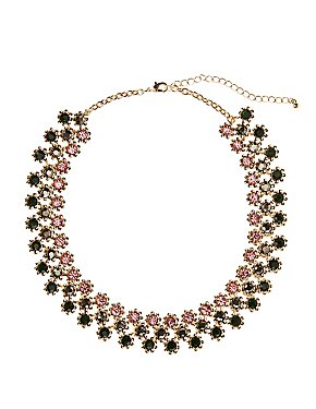 Colored Stone Statement Choker Necklace