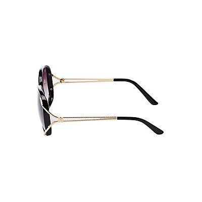 Gold Tone Square Sunglasses