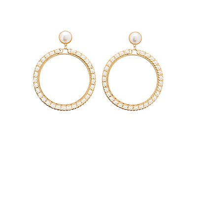 Oval Faux Pearl Drop Earrings
