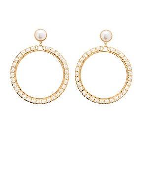Oval Faux Pearl Drop Earrings