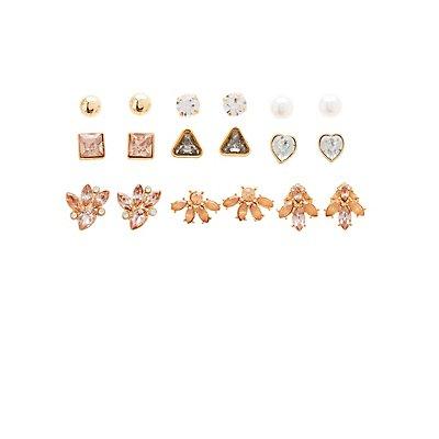 Crystal & Faux Pearl Stud Earrings - 9 Pack