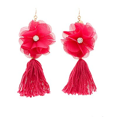 Floral Tassel Drop Earrings
