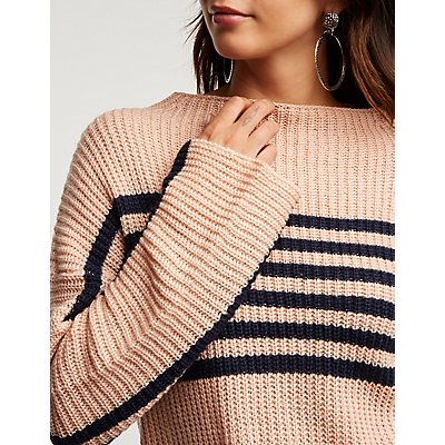Striped Cropped Pullover Sweater