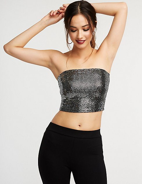 1fb13451be2 Images. Sequin Crop Tube Top ...