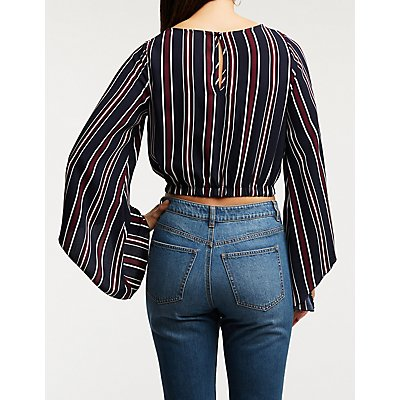 Stripe Bell Sleeve Crop Top