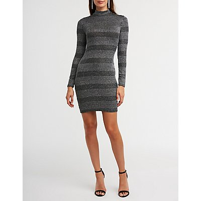 Glitter Striped Bodycon Dress