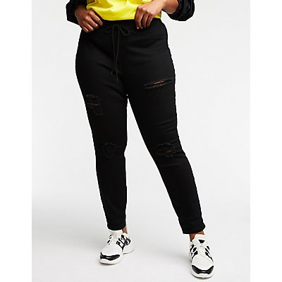 Plus Size Destroyed Joggers Pants