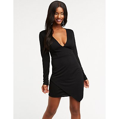 Plunging V Neck Bodycon Dress
