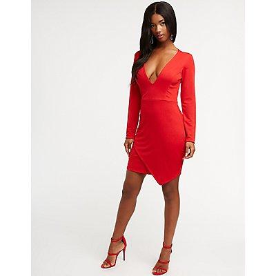 Plunging V Neck Bodycon Dress