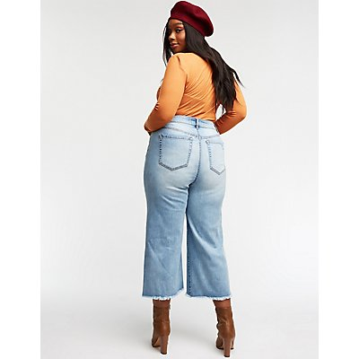 Destroyed Crop Leg Jeans