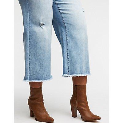 Destroyed Crop Leg Jeans