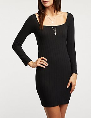 Square Neck Bodycon Sweater Dress