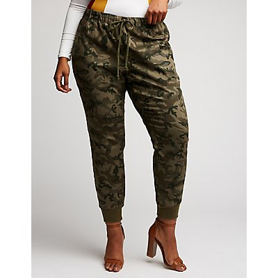 Plus Size Camo Jogger Pants