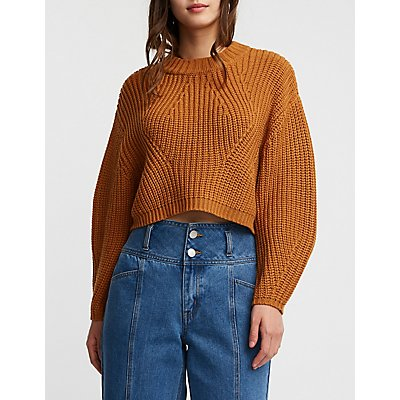 Mock Neck Crop Pullover Sweater