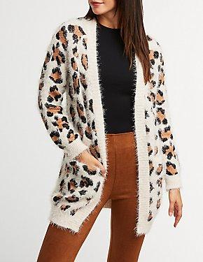 Leopard Open Front Cardigan