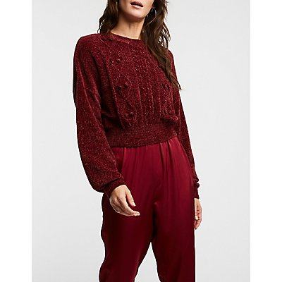 Pom Pom Cable Chenille Sweater