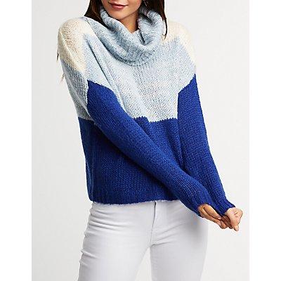 Colorblock Turtleneck Pullover Sweater