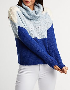 Colorblock Turtleneck Pullover Sweater