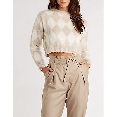 Diamond Pattern Crop Pullover