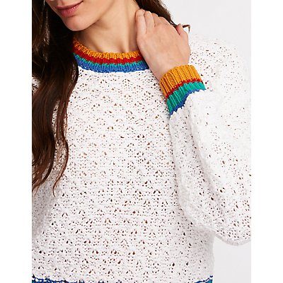 Rainbow Tipped Pullover Sweater