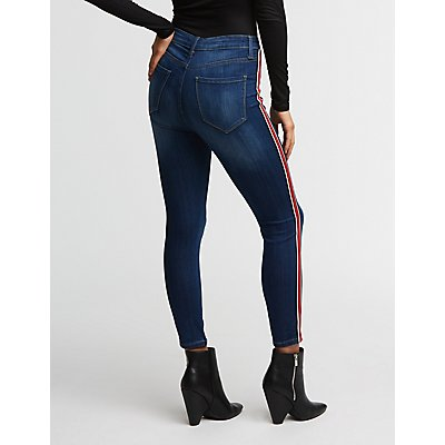 Cello Lace Up Striped Jeans