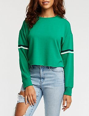 Striped Sleeve Crop Sweatshirt
