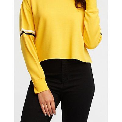 Striped Sleeve Crop Sweatshirt