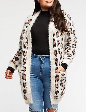 Plus Size Leopard Longline Cardigan